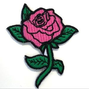 Accessories - Rose Patch iron on pink rockabilly flower DIY